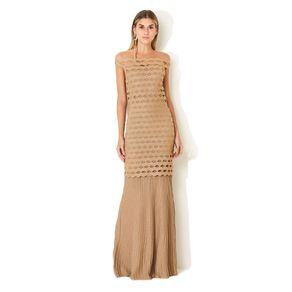 Vestido Longo Tricot Detalhe Plissado Branco/Dourado