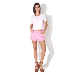 Shorts Sarja Com Bordado Embosing Rosa