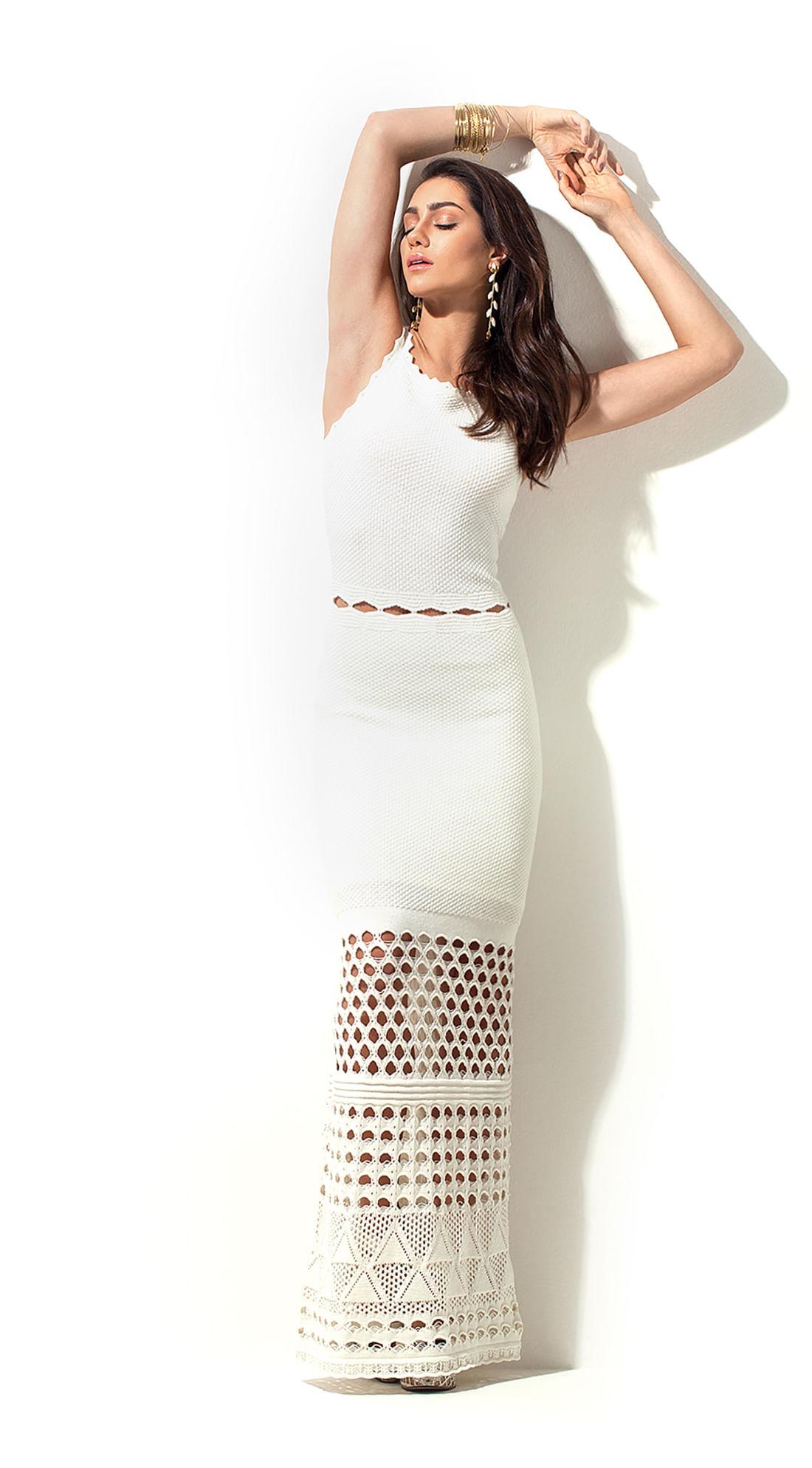 ece4362fd0ca Vestido Tricot Longo Com Detalhe Cintura Off White - morenarosa