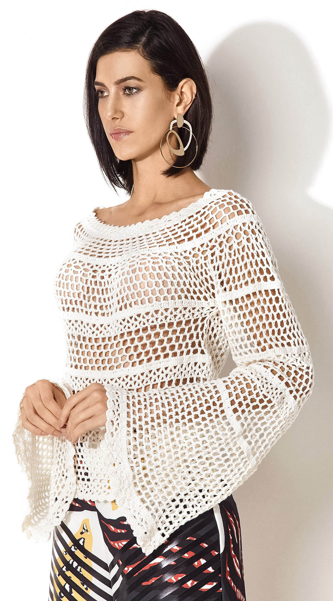 a6ad03935a16f Blusa Tricot Manga Flare Off White - morenarosa