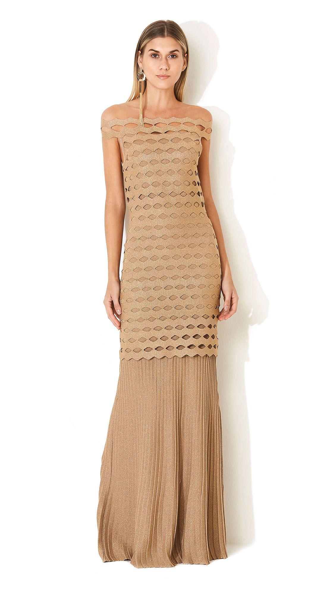 1cf16fc2c Vestido Longo Tricot Detalhe Plissado Branco/Dourado - morenarosa