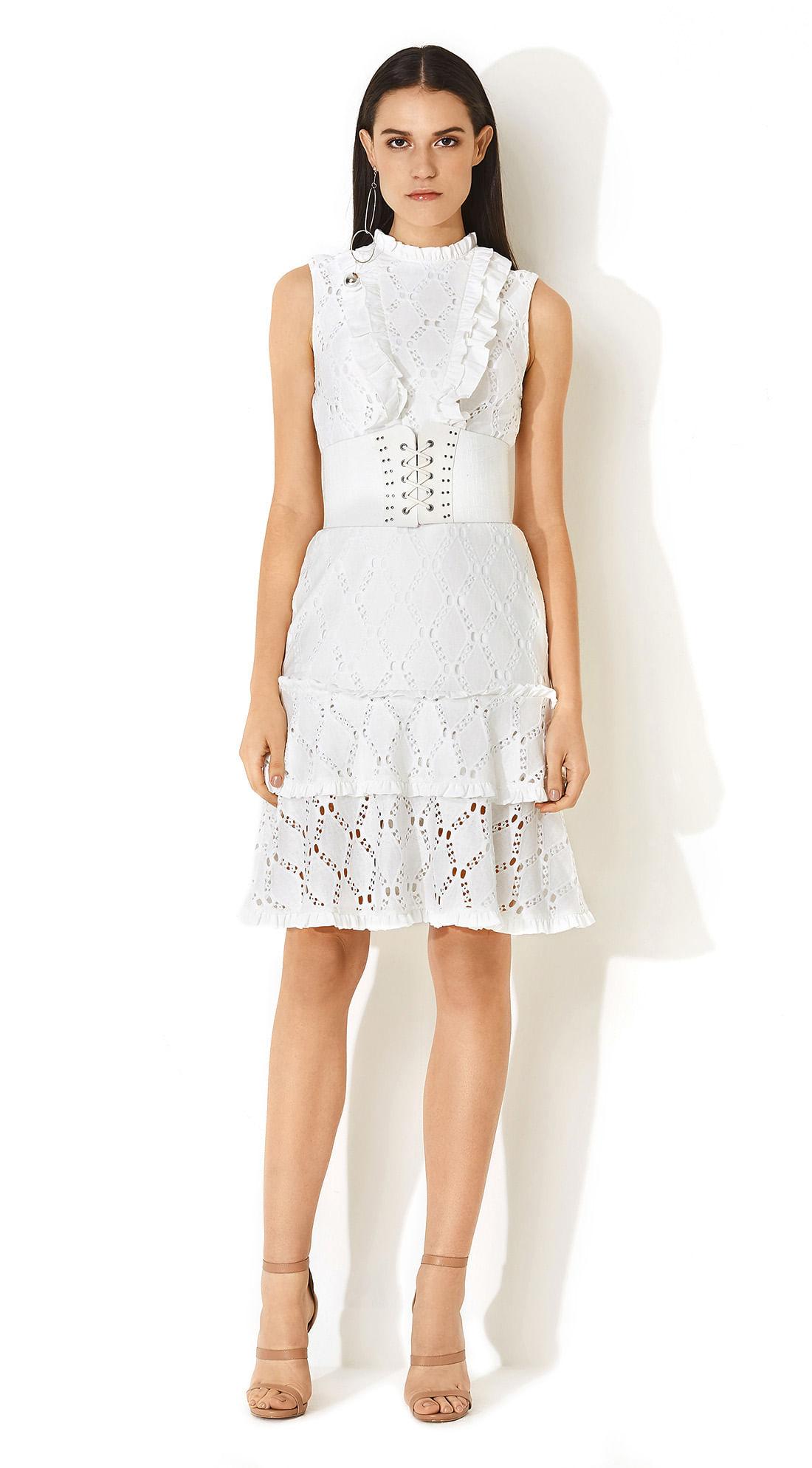 2dfb99d21 morenarosa · Vestuário · Vestidos · Vestido Babado Compose De Tecidos Off  White
