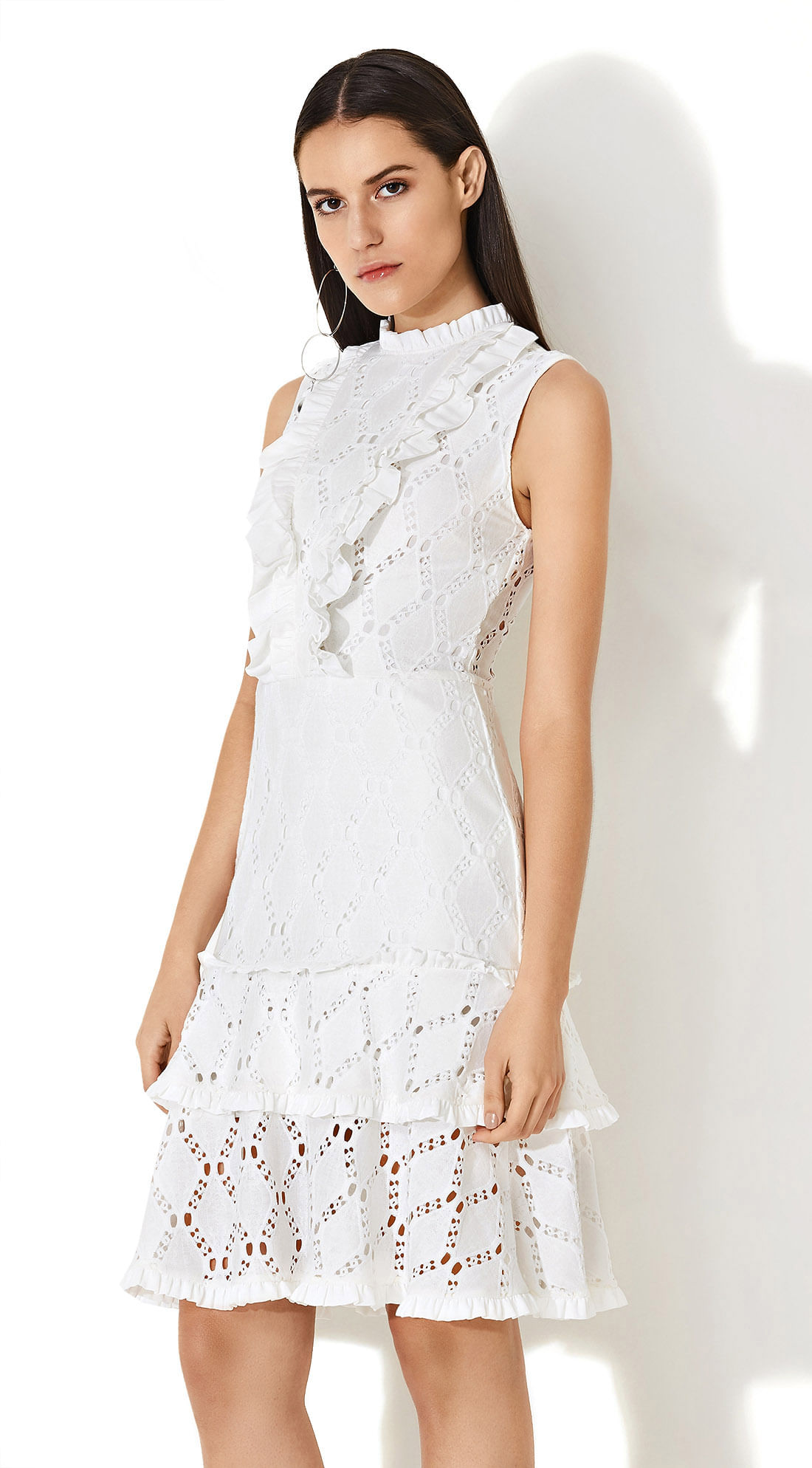 a055b2ee1 Vestido Babado Compose De Tecidos Off White - morenarosa
