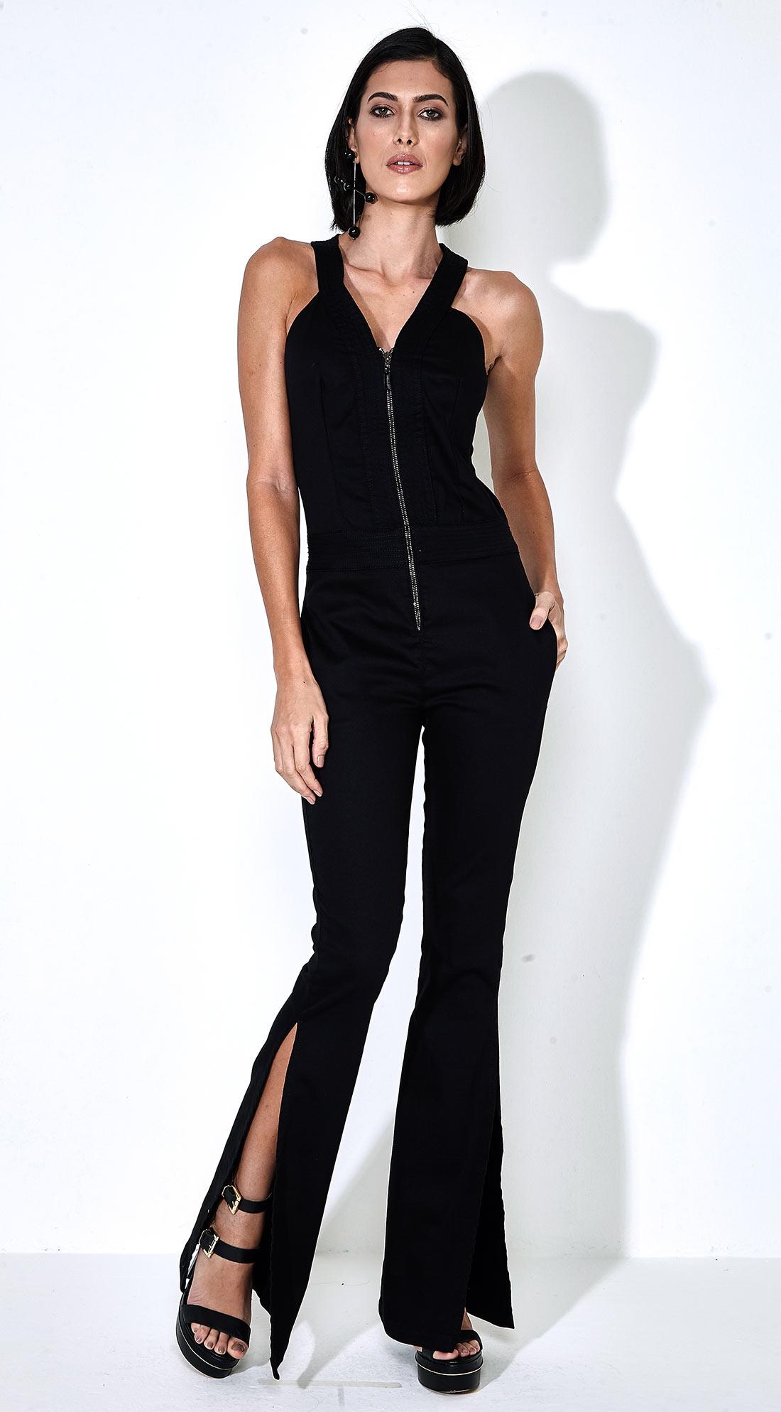 626c1ad08 Macacao Jeans Longo Com Decote Ziper Hypercurve Jeans - morenarosa