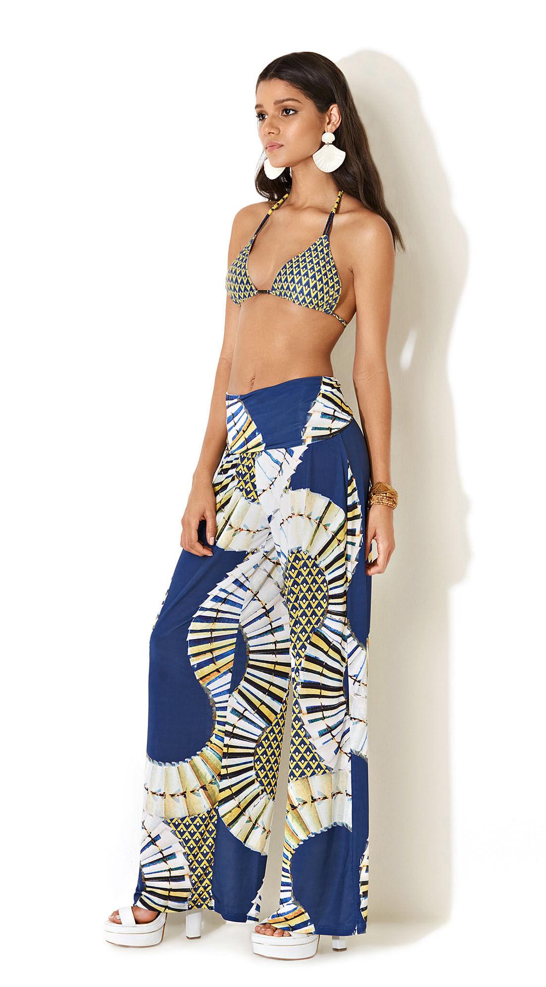Calca Pantalona Estampada Azul - morenarosa 38d0e5e3a6f