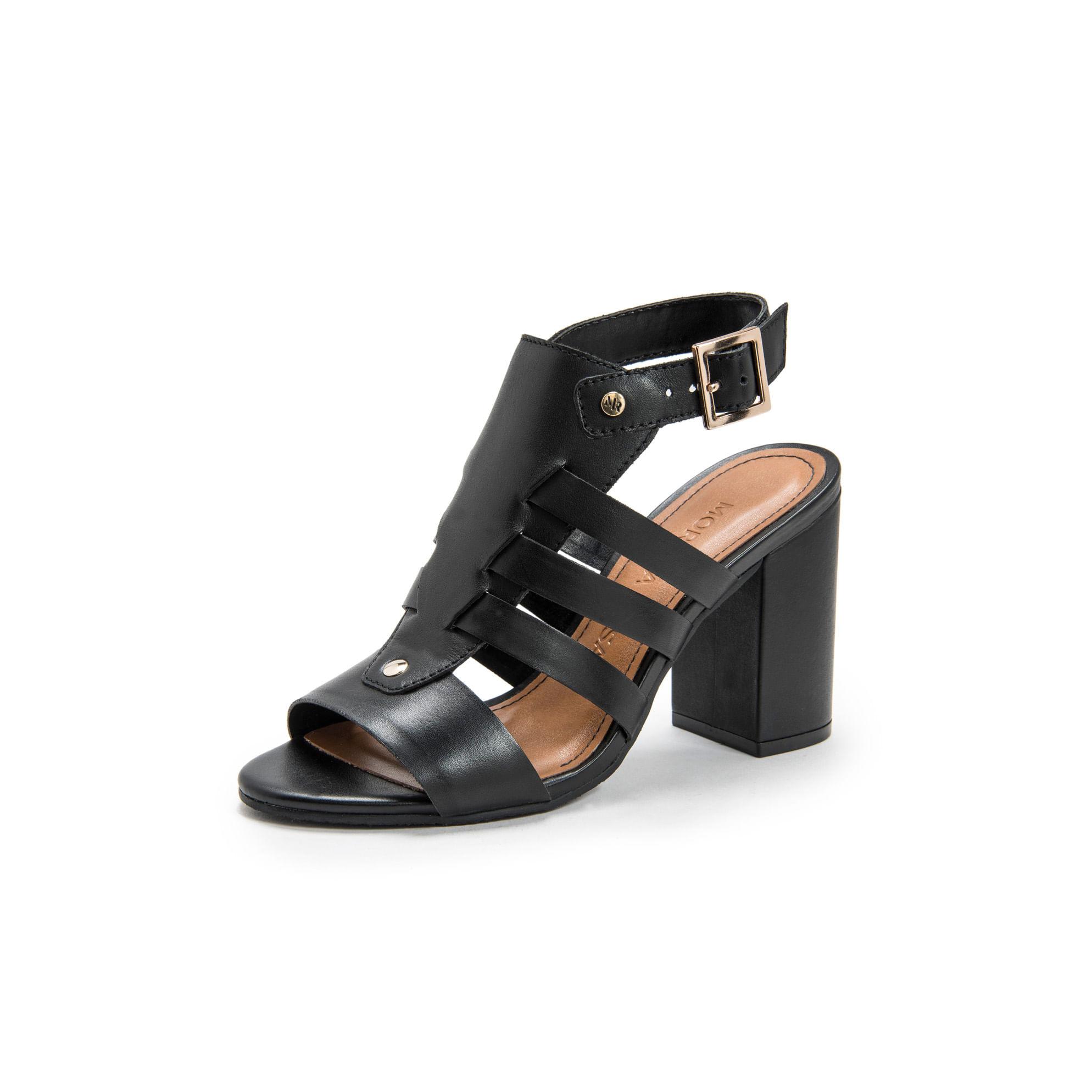 22ac853476 Sandalia Salto Alto Estilo Sandal Boot Com Detalhe De Tiras Preto ...