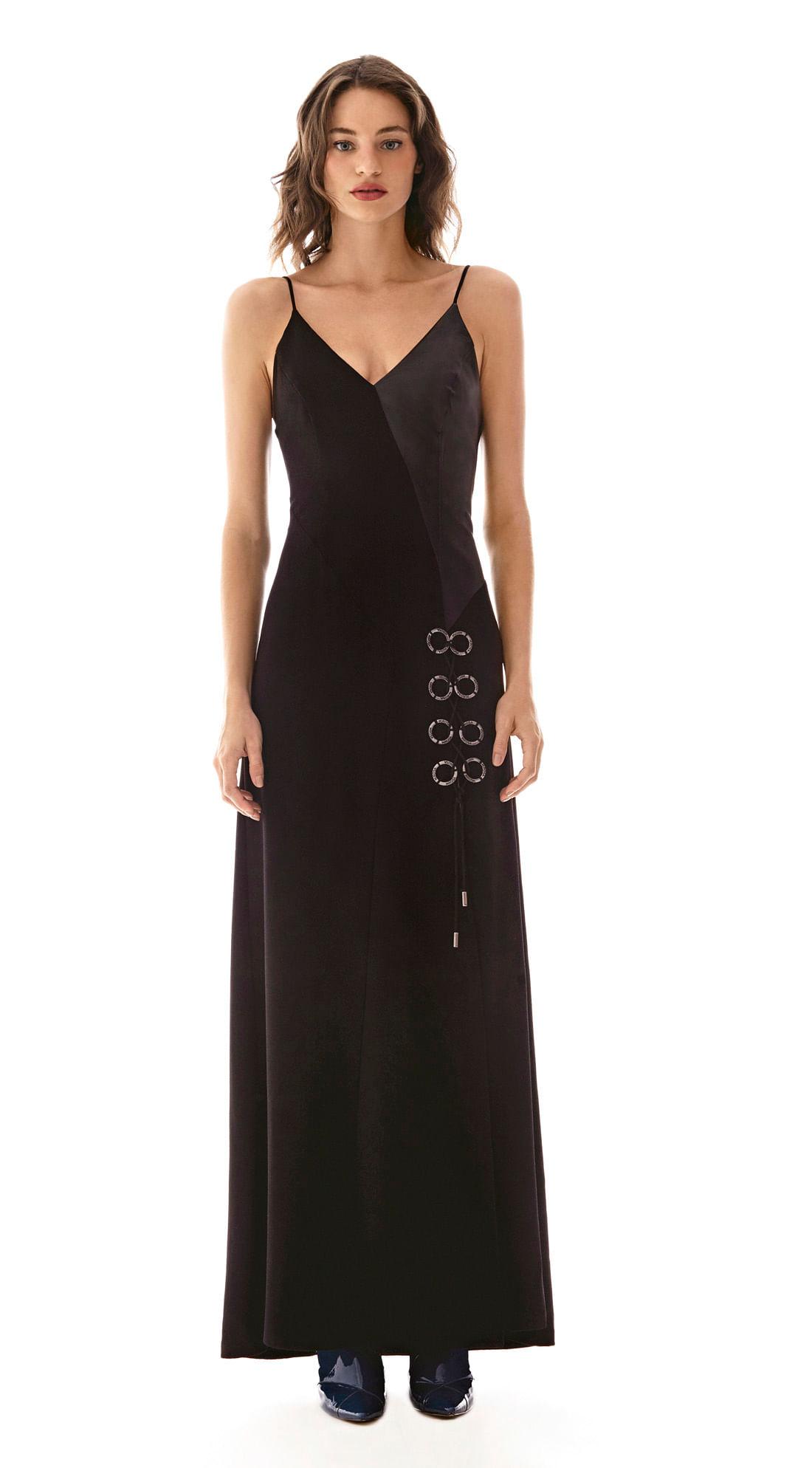 b59fe25db Vestido Longo Decote V Compose De Tecidos Preto - morenarosa