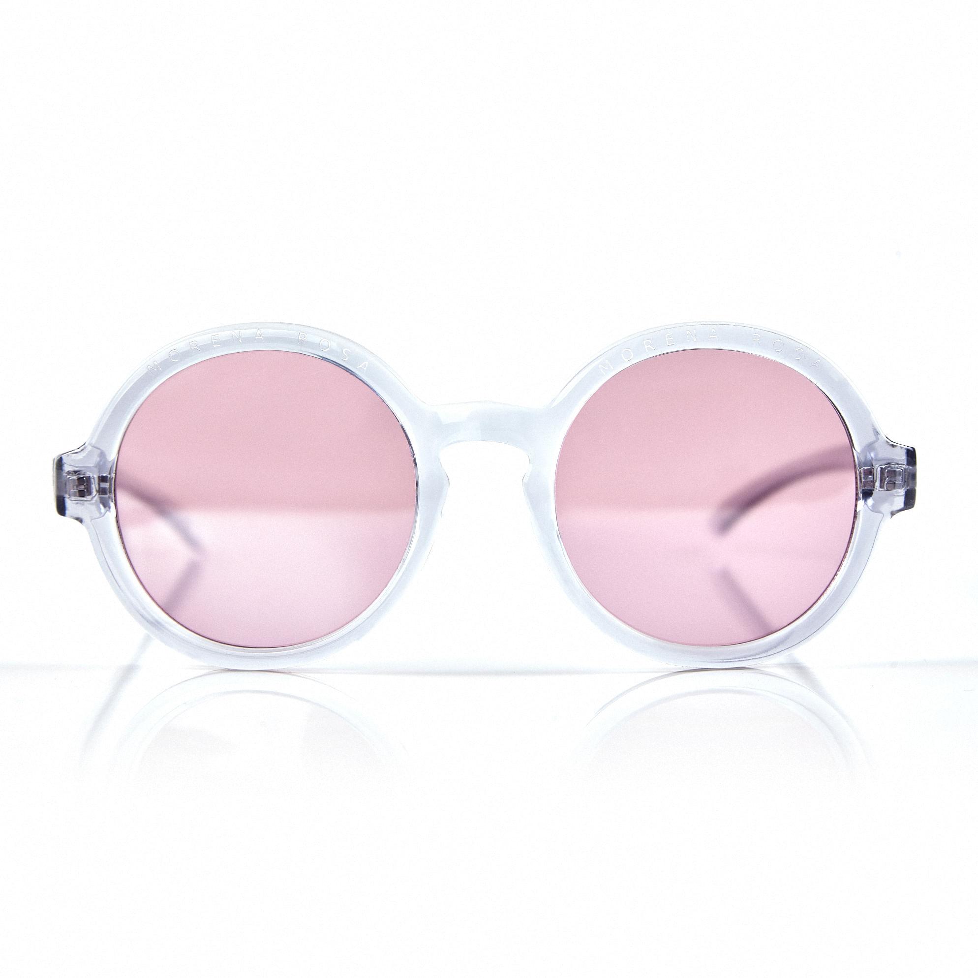 8b6b764077acd Oculos Redondo Cristal Com Gravacao Morena Rosa Borda Branco - TU