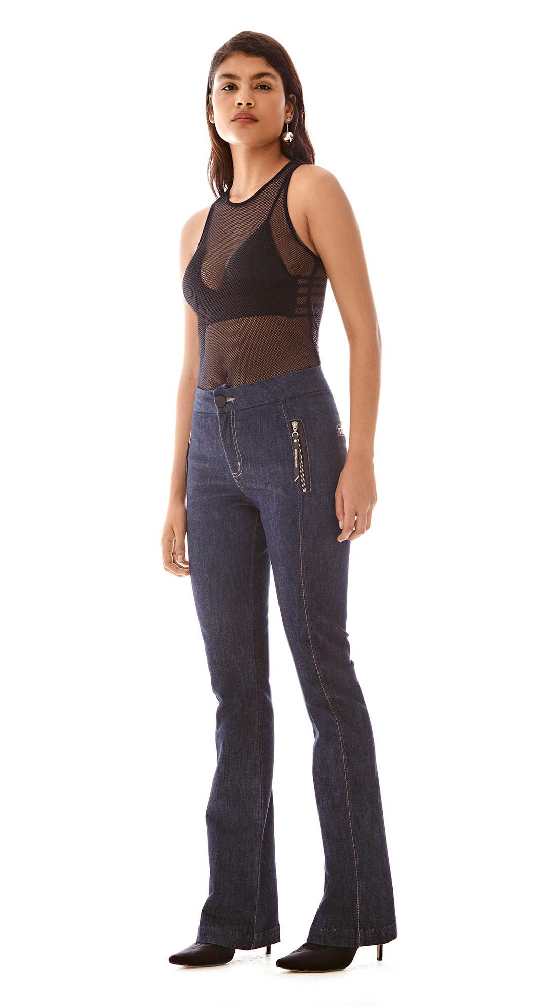 1d0a7e157 Calca Boot Cut Carol Cos Alto Detalhe Ziper Jeans - morenarosa