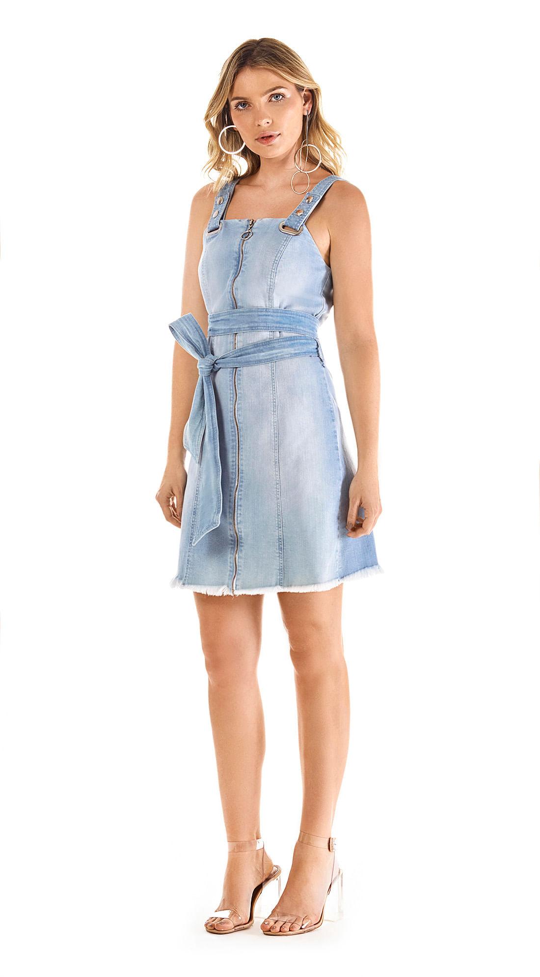 802466a4f Vestido Curto Decote Quadrado Com Faixa Jeans - morenarosa