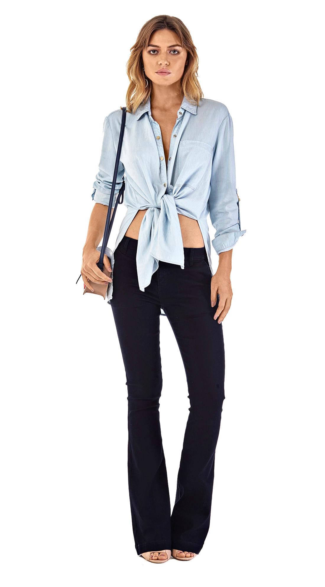 b3d07fb36dabe4 Calca Boot Cut Carol Cos Intermediario Bolso Faca Jeans - morenarosa