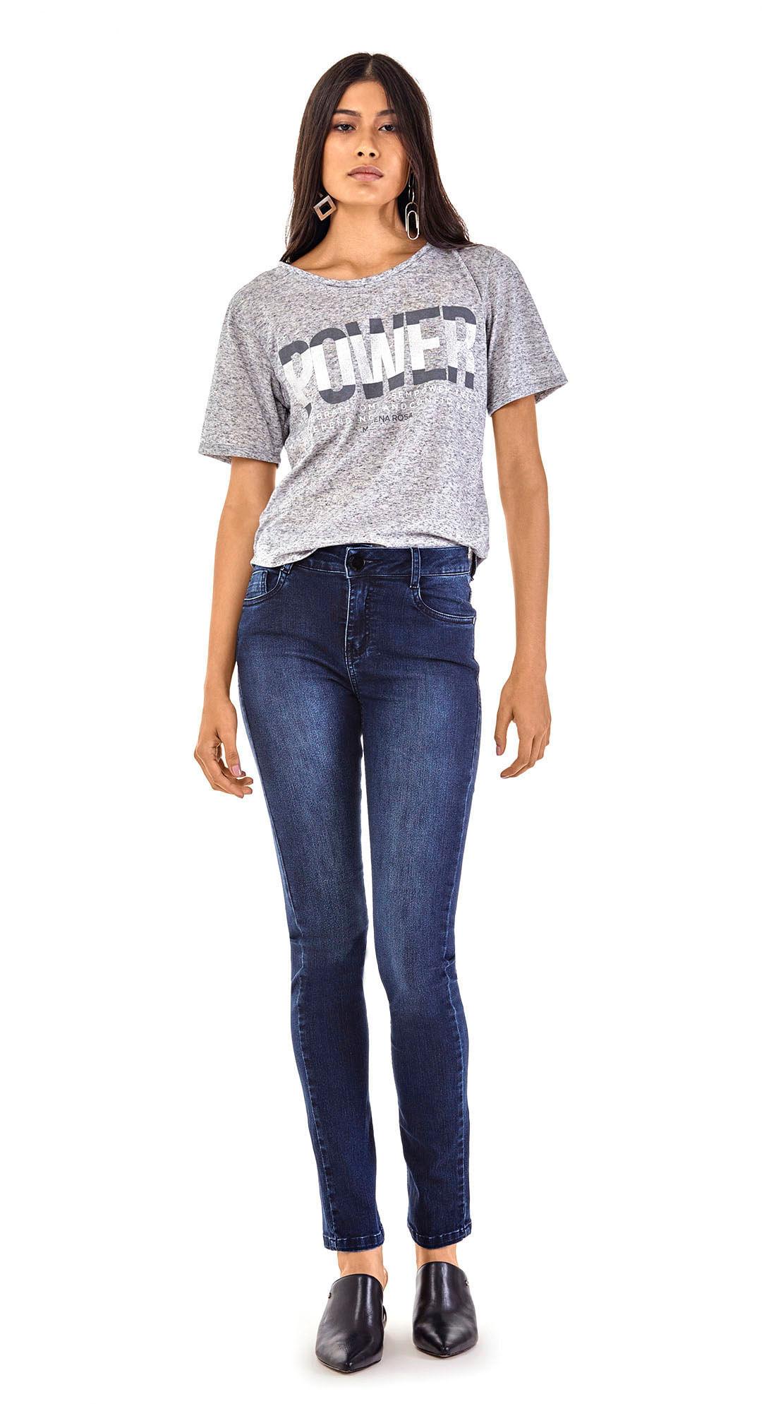 c8037657d Calca Slim Isabelli Cos Alto Escura Jeans - morenarosa