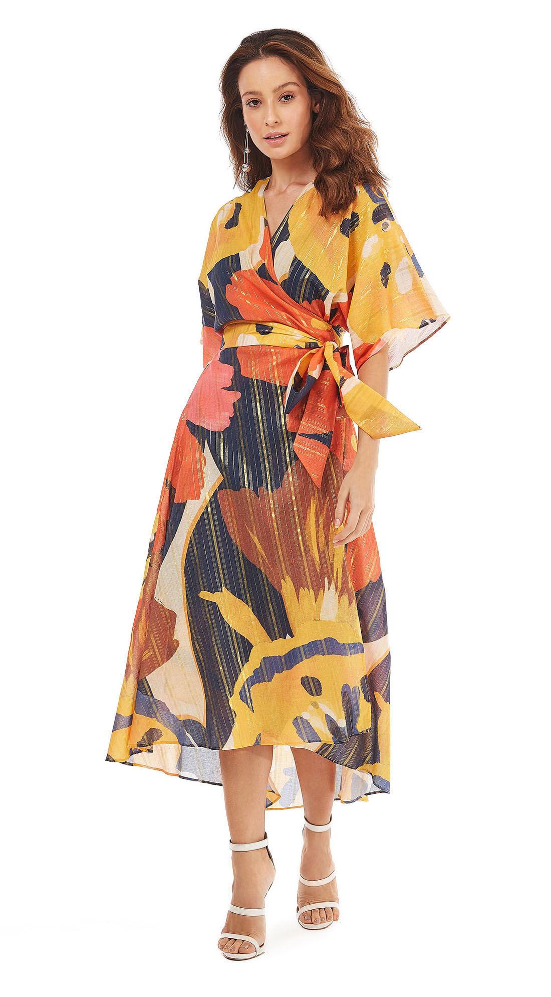 d5aba0303 morenarosa · Vestuário · Vestidos · Vestido Midi Decote Transpassado Com  Amarracao Azul