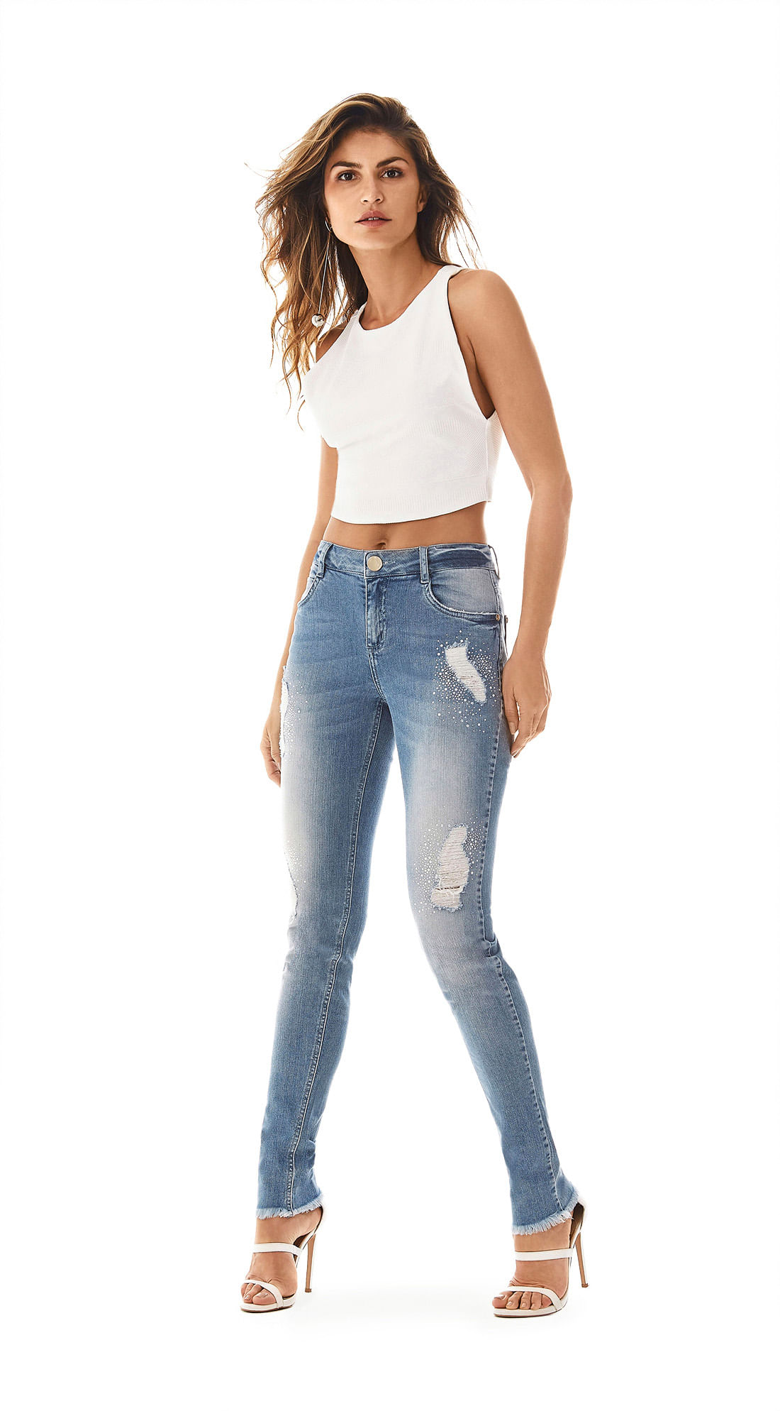 2777eef314 Calca Skinny Andreia Cos Intermediario Com Termocolante Jeans ...