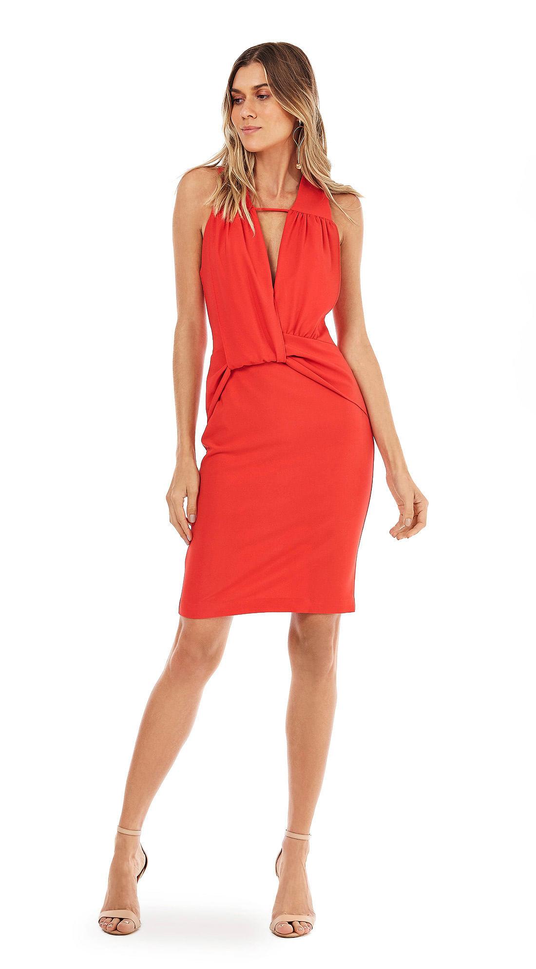 f386cc39fe Vestido Curto Decote V Basico Vermelho - morenarosa
