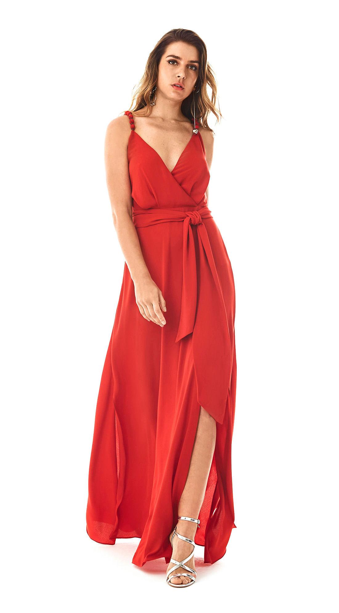 a80ee31a25 Vestido Longo Decote V Bordado Vermelho - morenarosa