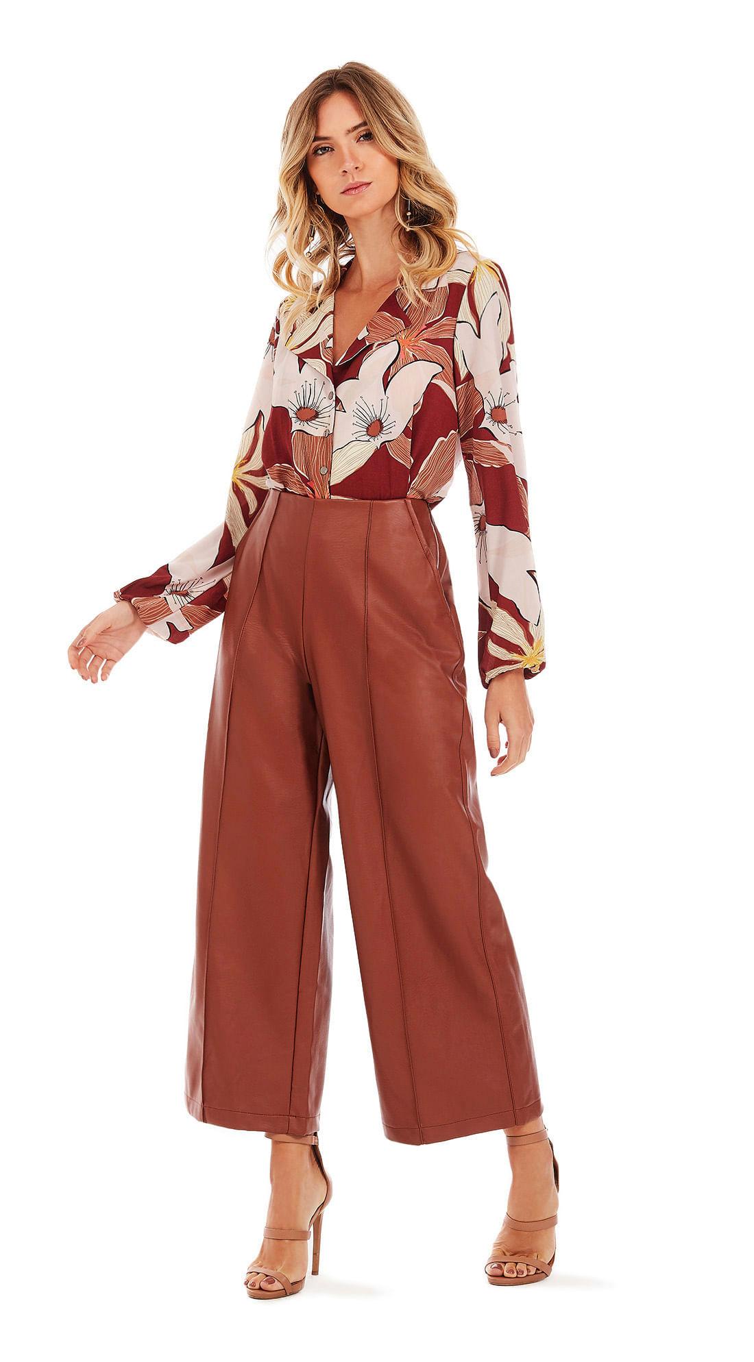 869b1ec13 morenarosa · Vestuário · Camisas · Camisa Manga Longa Com Amarracao Vermelho /Marrom