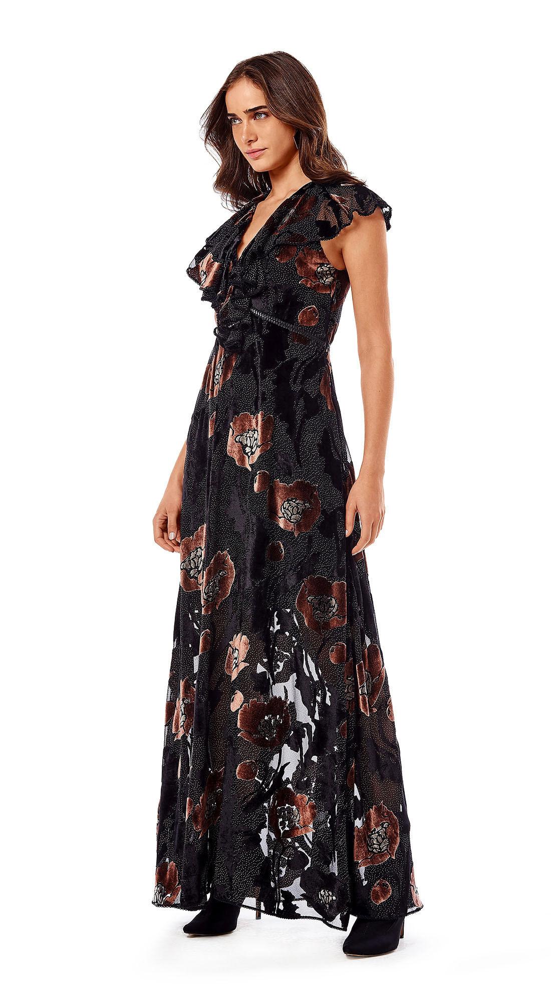 8e4526fd27 Vestido Longo Decote V Com Transparencia Preto - morenarosa
